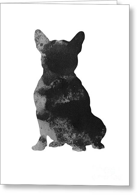 Frenchie Watercolor Art Print Silhouette Greeting Card by Joanna Szmerdt