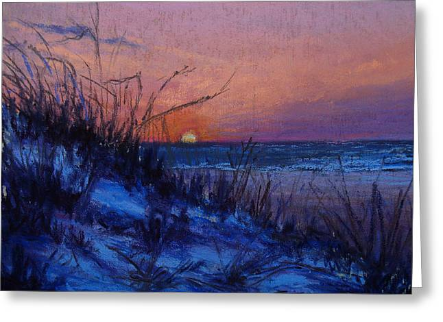 Beach Landscape Pastels Greeting Cards - Frenchys Sunset Greeting Card by Susan Jenkins