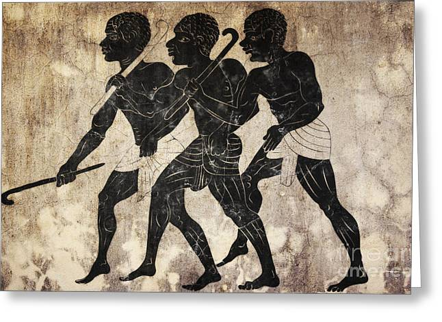African Heritage Mixed Media Greeting Cards - Fresco - Hunters Greeting Card by Michal Boubin