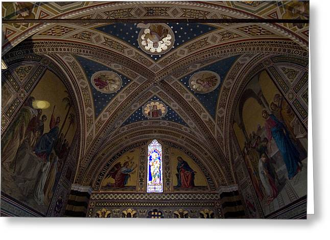 Chianti Greeting Cards - Frescoes Inside The Church At Brolio Greeting Card by Todd Gipstein