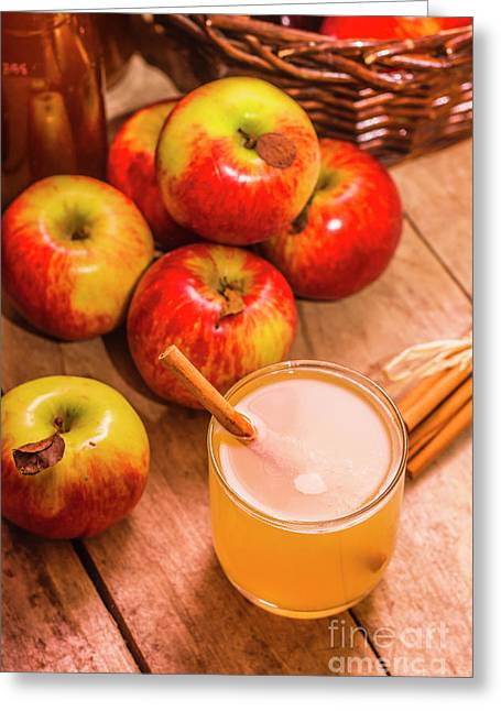 Fresh Apple Juice With Cinnamon Greeting Card by Jorgo Photography - Wall Art Gallery