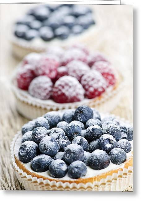 Portion Greeting Cards - Fresh berry tarts Greeting Card by Elena Elisseeva