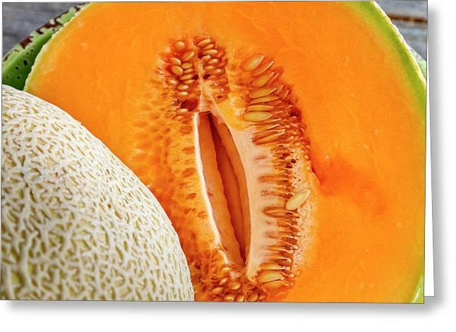 Fresh Cantaloupe Melon Greeting Card by Teri Virbickis
