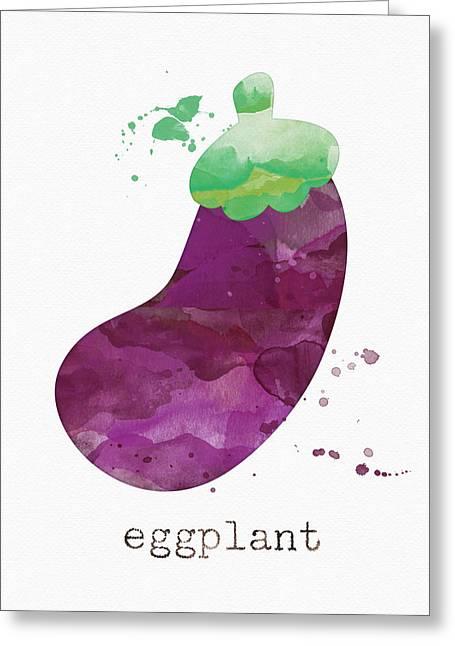Farmers Market Greeting Cards - Fresh Eggplant Greeting Card by Linda Woods