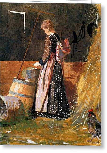 Cockerel Greeting Cards - Fresh Eggs Greeting Card by Winslow Homer