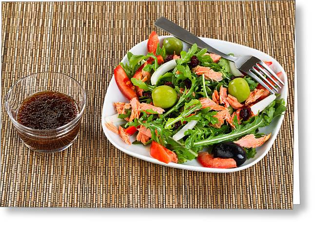 Balsamic Vinegar Photographs Greeting Cards - Fresh healthy salad and dressing on natural bamboo place mat Greeting Card by Tom  Baker