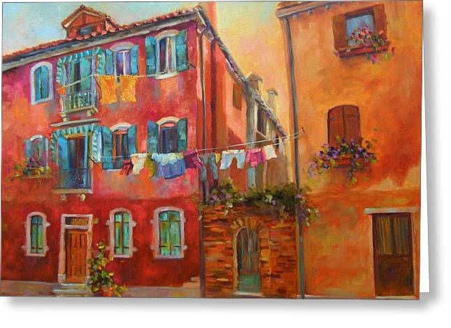 Italian Shopping Paintings Greeting Cards - Fresh Linen Greeting Card by Chris Brandley