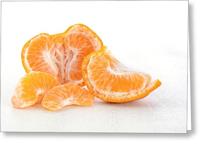 Tabletop Greeting Cards - Fresh Mandarin and segments Greeting Card by Milleflore Images