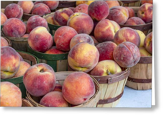 Fresh Peaches At The Market Greeting Card by Teri Virbickis