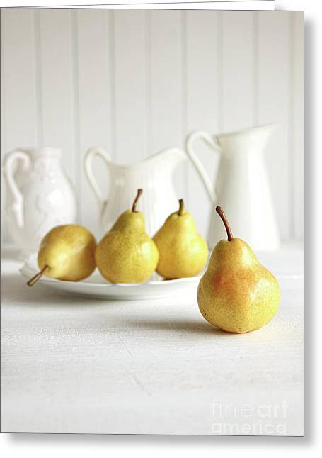 Fresh Pears On Old Table Greeting Card by Sandra Cunningham