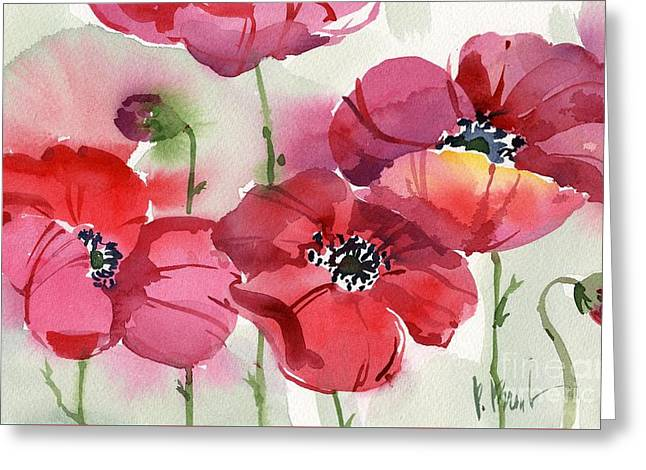 Fresh Green Paintings Greeting Cards - Fresh Poppies Greeting Card by Paul Brent