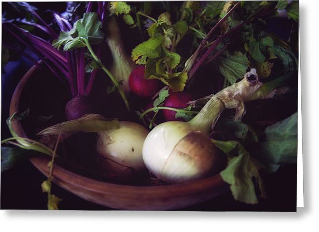 Wooden Bowls Greeting Cards - Fresh Produce in Wooden Bowl Greeting Card by Toni Hopper