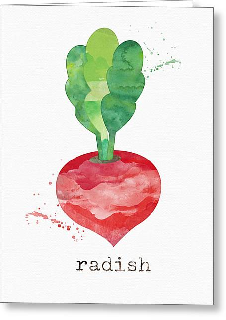 Farm Mixed Media Greeting Cards - Fresh Radish Greeting Card by Linda Woods