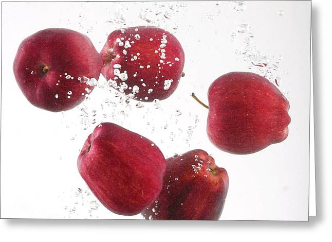 Apples; Bobbing; Apple Greeting Cards - Fresh Red Apples Greeting Card by Gerry Wilson