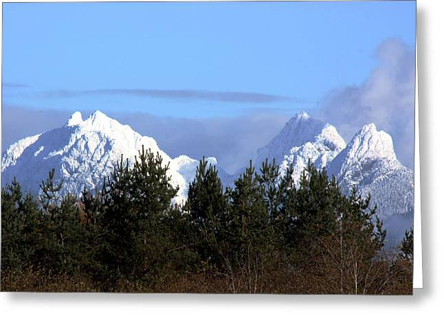 Christmas Greeting Photographs Greeting Cards - Fresh Snow on Golden Ears Greeting Card by Barbara  White