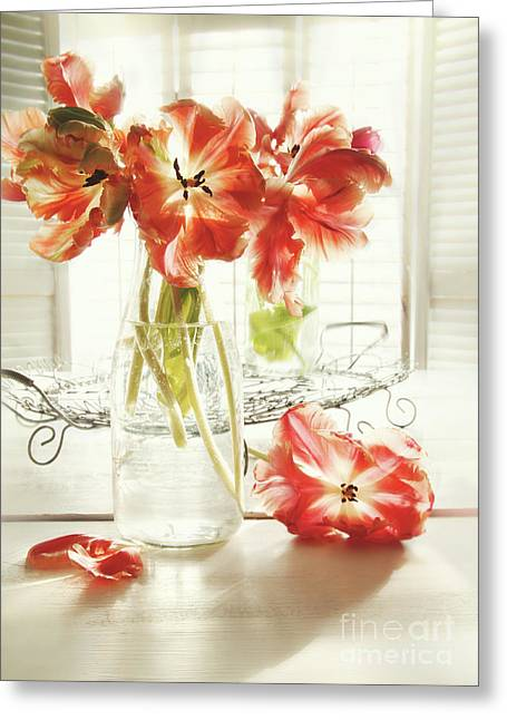 Green Leafs Greeting Cards - Fresh spring tulips in old milk bottle  Greeting Card by Sandra Cunningham