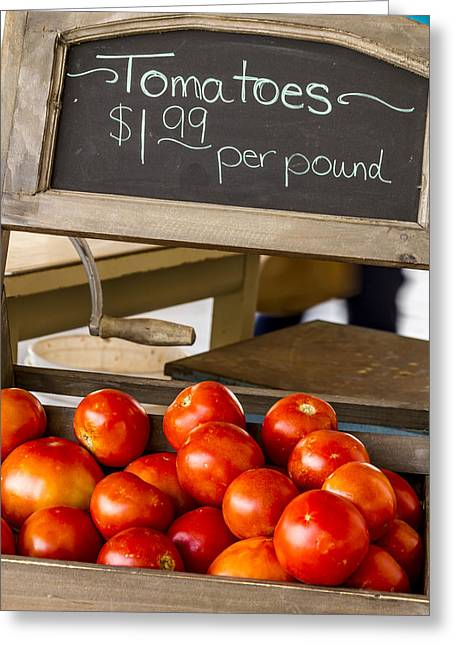 Locally Grown Greeting Cards - Fresh the Garden Tomatoes Greeting Card by Teri Virbickis