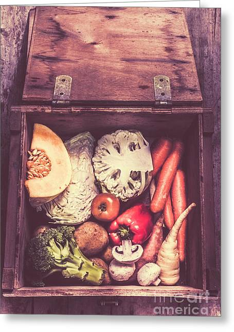 Fresh Vegetables In Wooden Box Greeting Card by Jorgo Photography - Wall Art Gallery