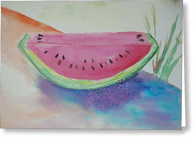 Watermelon Greeting Cards - Fresh Watermelon Greeting Card by Aldonia Bailey