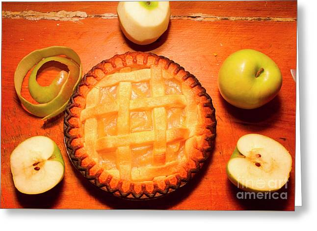 Freshly Baked Pie Surrounded By Apples On Table Greeting Card by Jorgo Photography - Wall Art Gallery