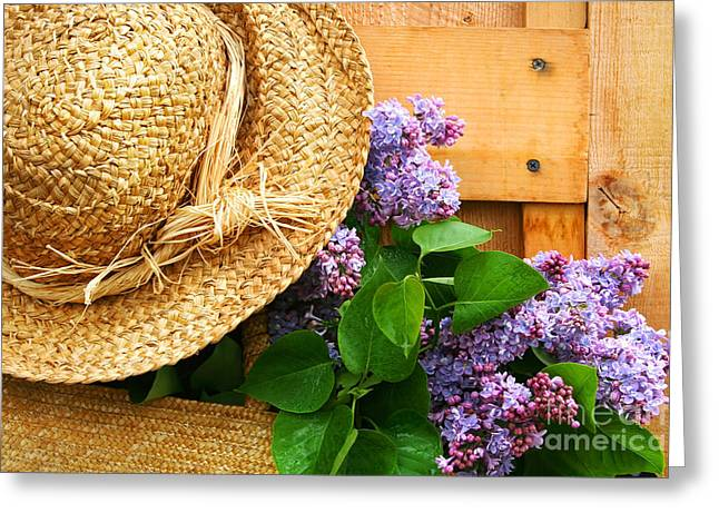 Barn Door Digital Greeting Cards - Freshly picked lilacs Greeting Card by Sandra Cunningham