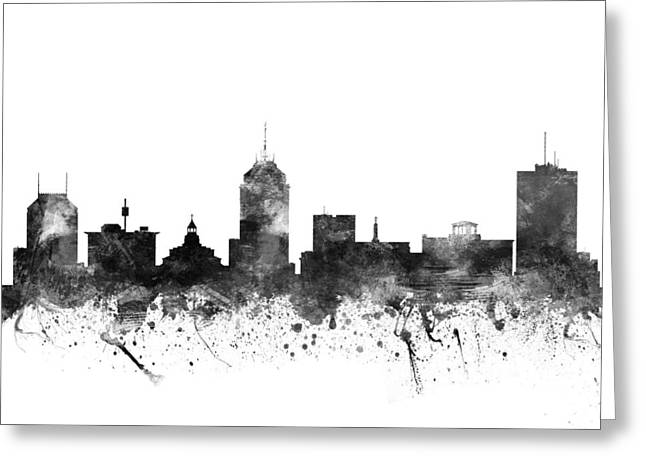 Cityscape Drawings Greeting Cards - Fresno California Cityscape 02BW Greeting Card by Aged Pixel