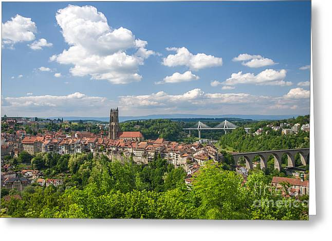 Swiss Photographs Greeting Cards - Fribourg Panorama Greeting Card by Ning Mosberger-Tang
