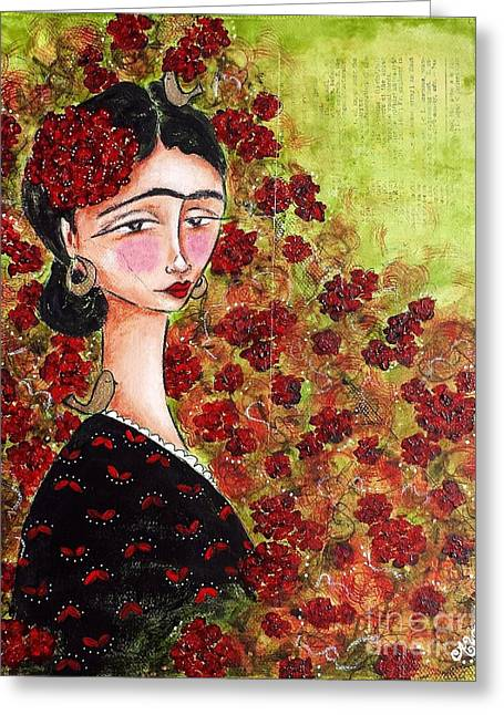 Famous Artist Greeting Cards - Frida Among Flower Greeting Card by Allison Weeks Thomas
