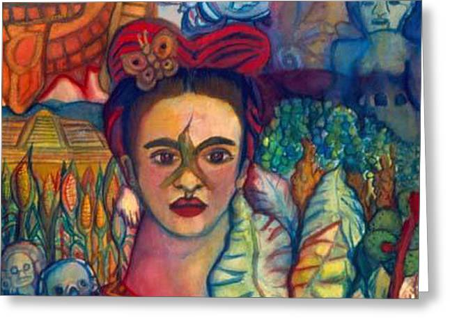 Unibrow Greeting Cards - Frida and Mexico Greeting Card by Candace Byington