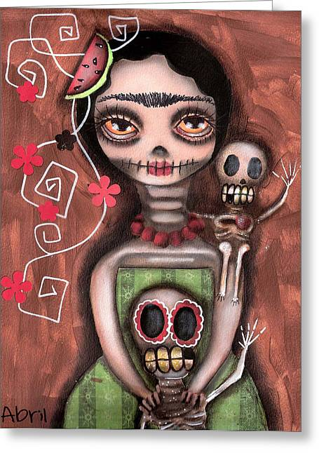 Abril Greeting Cards - Frida Day of the Dead Greeting Card by  Abril Andrade Griffith
