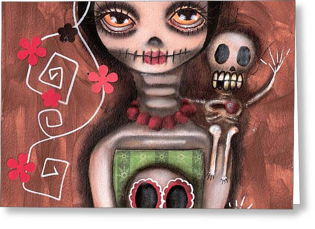 Frida Day of the Dead Greeting Card by  Abril Andrade Griffith