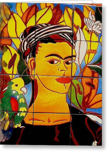Leafs Ceramics Greeting Cards - Frida Greeting Card by Yana Yatsyk