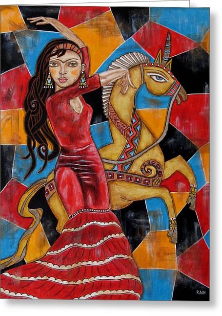 Unicorn Art Painting Greeting Cards - Frida Kahlo dancing with the Unicorn Greeting Card by Rain Ririn