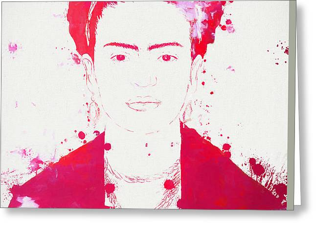 Self-portrait Mixed Media Greeting Cards - Frida Kahlo Paint Splatter Greeting Card by Dan Sproul