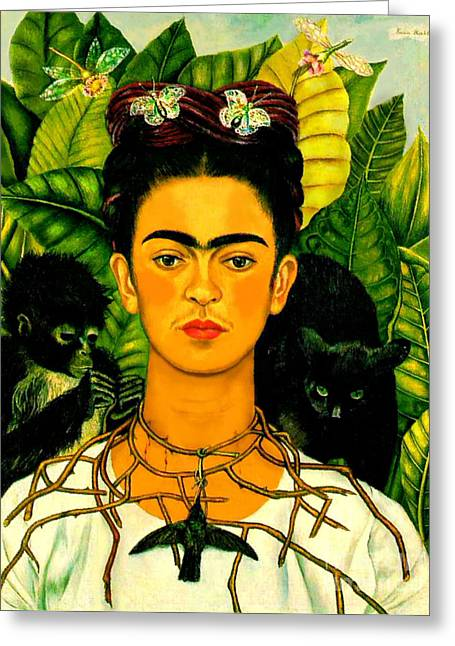Printed Greeting Cards - Frida Kahlo Self Portrait With Thorn Necklace and Hummingbird Greeting Card by Pg Reproductions