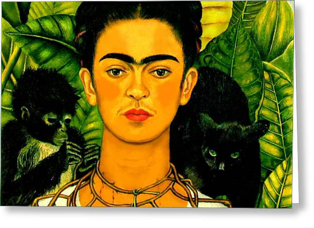 Frida Kahlo Self Portrait With Thorn Necklace and Hummingbird Greeting Card by PG REPRODUCTIONS