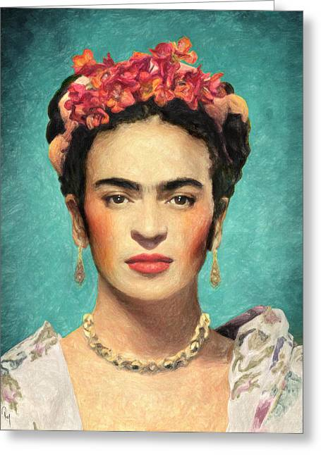 Self-portrait Greeting Cards - Frida Kahlo Greeting Card by Taylan Soyturk