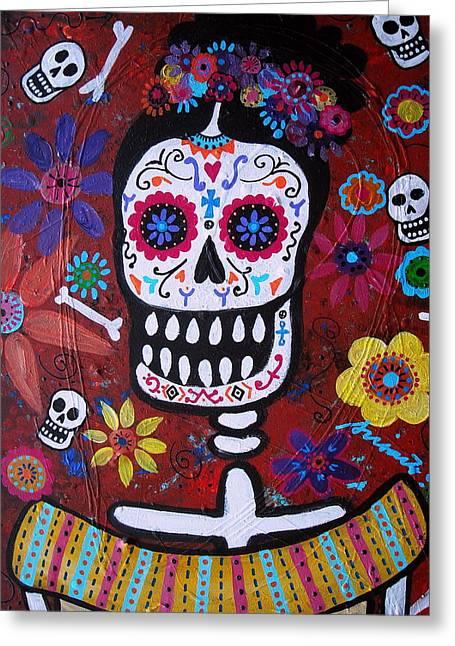 Sementeryo Greeting Cards - Frida Greeting Card by Pristine Cartera Turkus