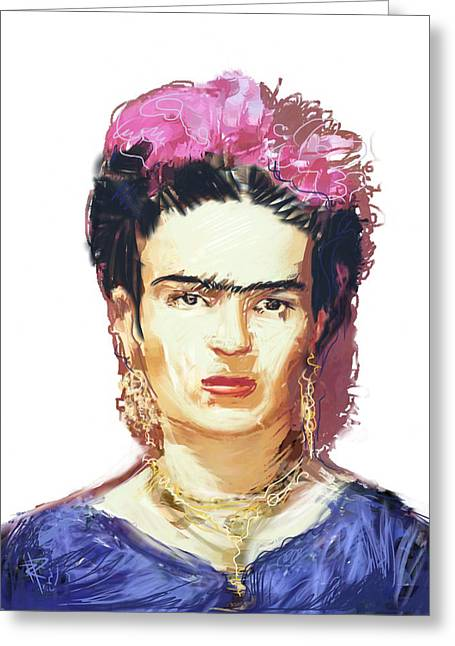 Famous ist Mixed Media Greeting Cards - Frida Greeting Card by Russell Pierce