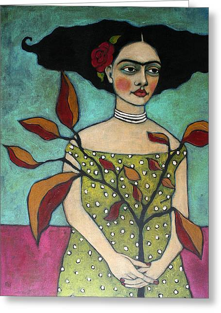 Acrylic Greeting Cards - Frida With A Branch Greeting Card by Jane Spakowsky