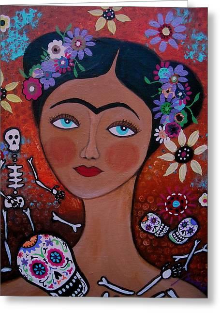 Sementeryo Greeting Cards - Frida With Skulls Greeting Card by Pristine Cartera Turkus