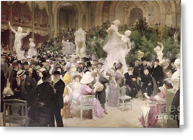 Parisian Greeting Cards - Friday at the Salon Greeting Card by Jules Alexandre Grun