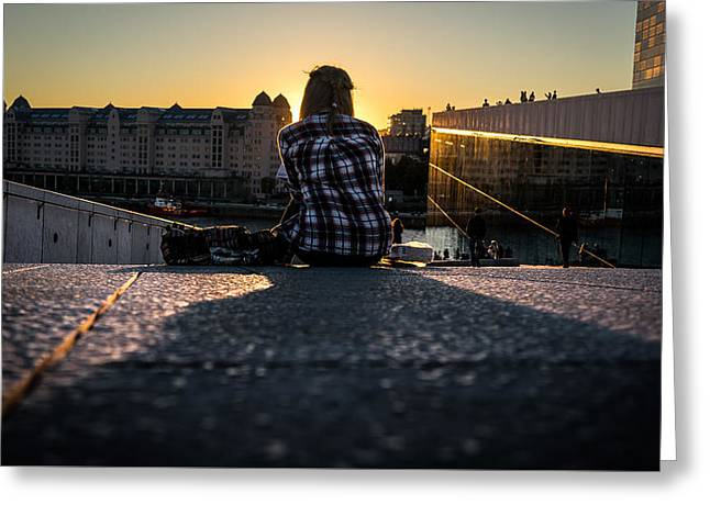 Friday Evening - Oslo, Norway - Color Street Photography Greeting Card by Giuseppe Milo