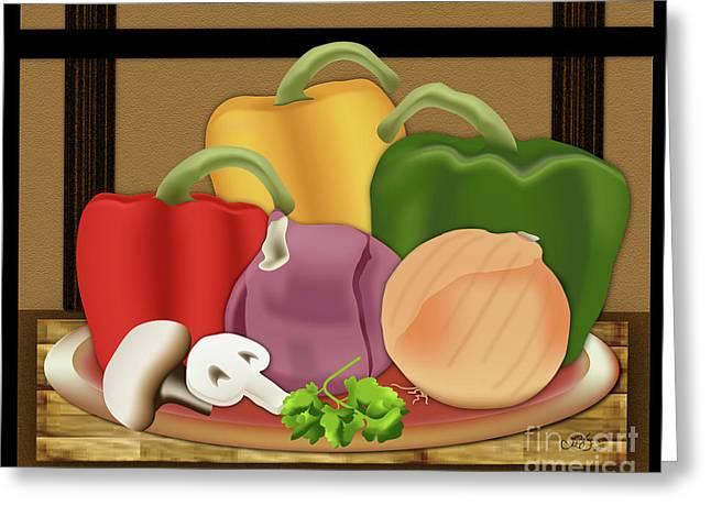 Purple Mushrooms Digital Greeting Cards - Friday Night Pizza Greeting Card by Linda Seacord