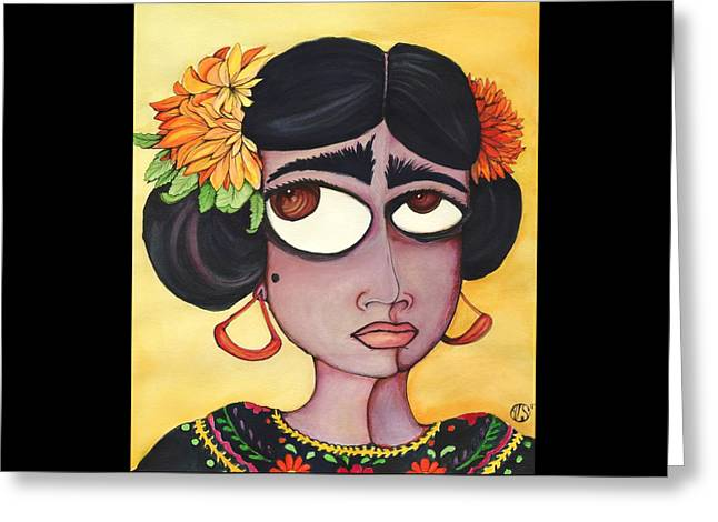 Fridita Greeting Card by Angie Snapp