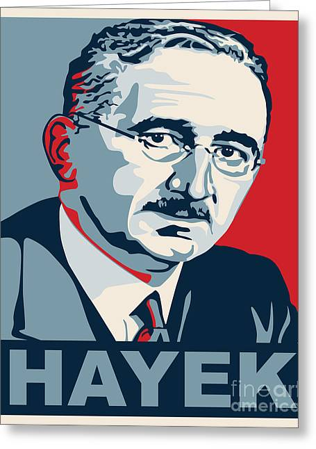 Conservative Greeting Cards - Friedrich Hayek Greeting Card by John L