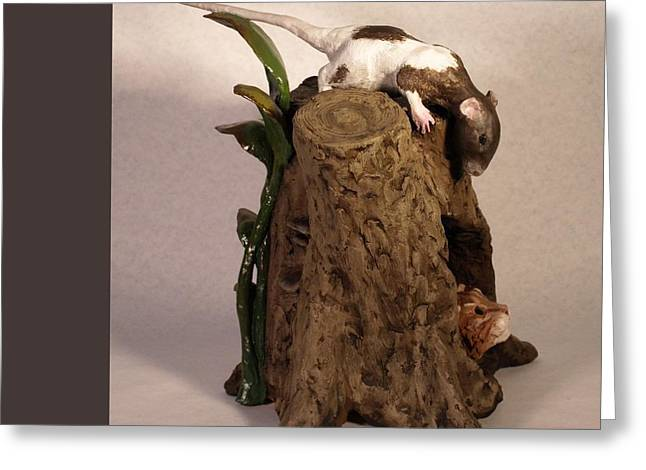 Innocence Sculptures Greeting Cards - Friend or Foe view 1 Greeting Card by Katherine Howard