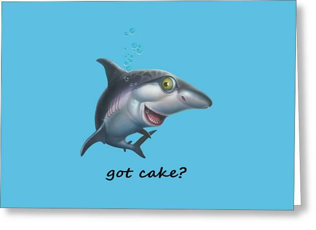 Beach Decor Digital Greeting Cards - friendly Shark Cartoony cartoon under sea ocean underwater scene art print Greeting Card by Walt Curlee