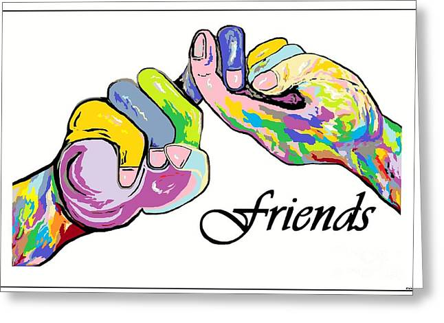 Asl Greeting Cards - FRIENDS . . . An American Sign Language Painting Greeting Card by Eloise Schneider