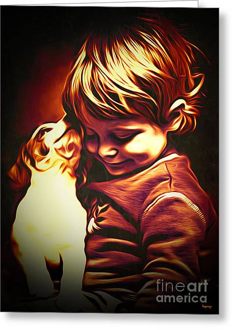 Puppy Digital Art Greeting Cards - Friends Greeting Card by Larry Espinoza